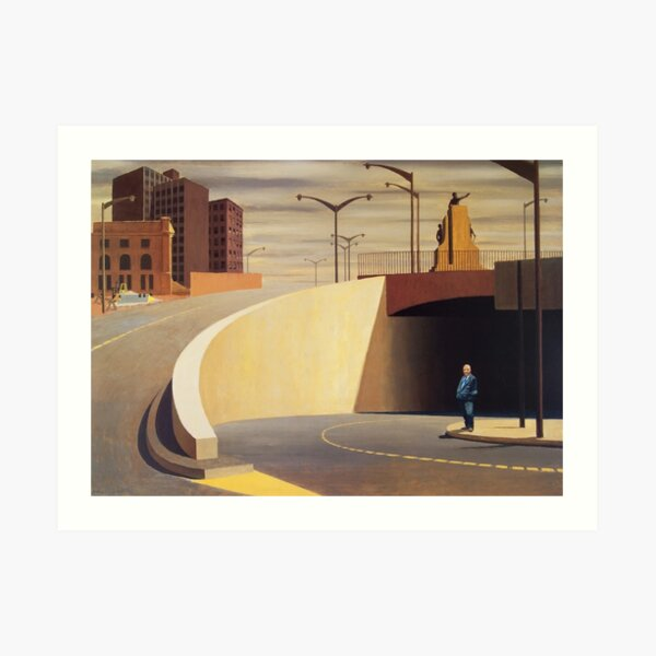 Jeffrey Smart - 'Cahill Expressway' (1962) oil on plywood. High quality print of the original painting. Art Print