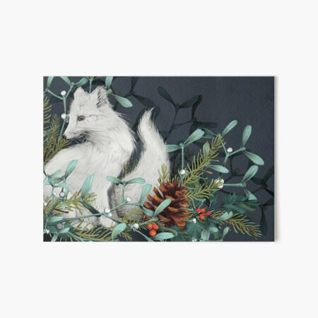 Arctic Fox Holiday Portrait Art Board Print