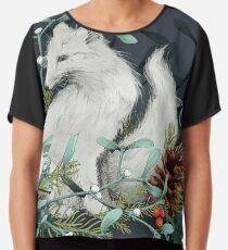 Arctic Fox Holiday Portrait Chiffon Top
