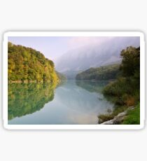 Mist and autumn colours on the Rhône river Sticker