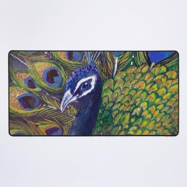 Blue & Gold Peacock Love Desk Mat
