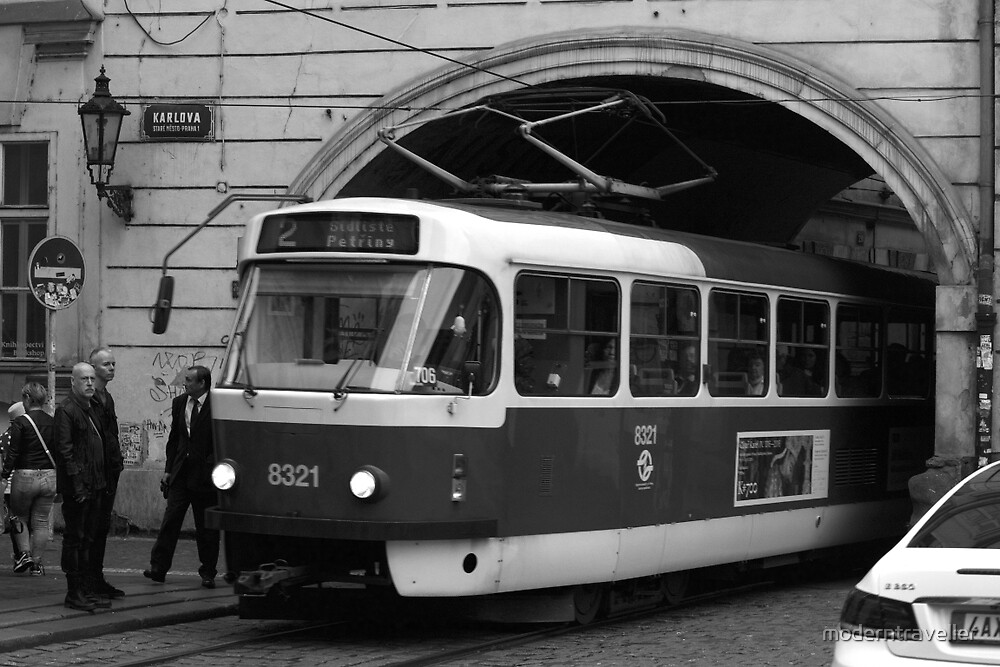 Prague tram leaves a tunnel by moderntraveller