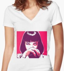 Pulp Fiction - Mia Wallace Women's Fitted V-Neck T-Shirt