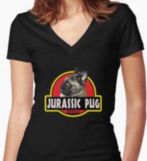 Jurassic Pug Women's Fitted V-Neck T-Shirt