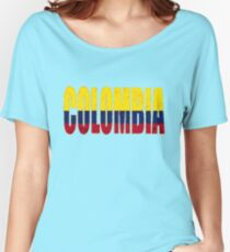 Colombia Font with Colombian Flag Women's Relaxed Fit T-Shirt