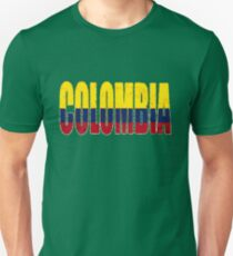 Colombia Font with Colombian Flag Unisex T-Shirt