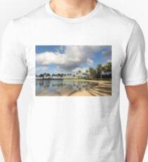 Tropical Beach Joy - Lagoon Shadows and Reflections of Palm Trees T-Shirt