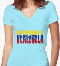 Venezuela Font with Venezuelan Flag Women's Fitted V-Neck T-Shirt