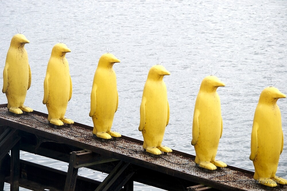Prague's yellow penguins by moderntraveller