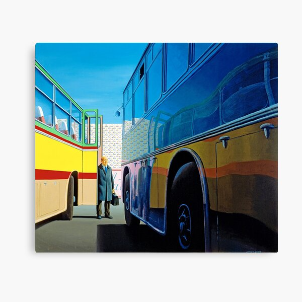 Jeffrey Smart - 'The Traveller' (1973) oil on canvas. High quality print of the original painting. Canvas Print