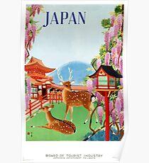 Vintage Japan Temple Travel Poster Poster