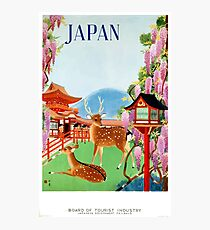 Vintage Japan Temple Travel Poster Photographic Print