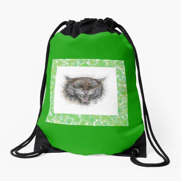 Angry Tiger, Green Frame Drawstring Bag