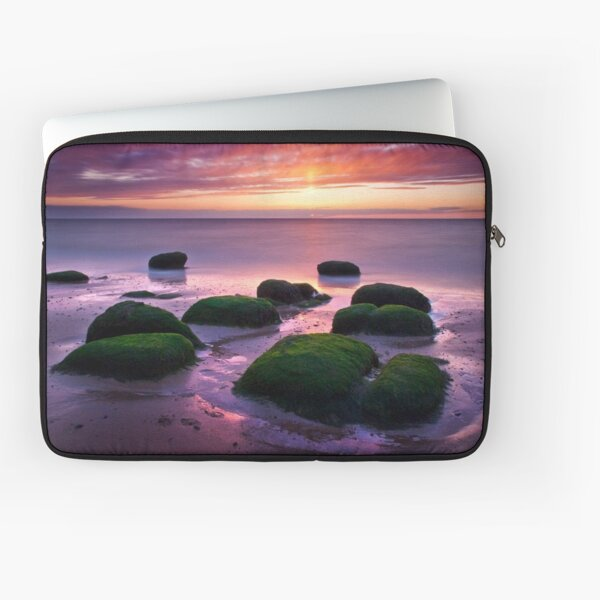 Green Boulders at Sunset, Hunstanton, Norfolk Laptop Sleeve