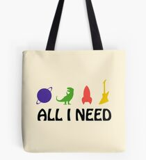 All I Need (Planet, Dinosaur, Rocket, Guitar) Tote Bag