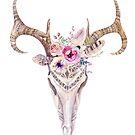 Cute Colorful Boho Skull & Tribal Flowers & Feathers by artonwear