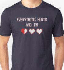Everything hurts & I'm dying RPG 8-bit hearts Unisex T-Shirt