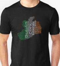 Ireland Irish Outline Flag Color Graphic Design With Cities Unisex T-Shirt