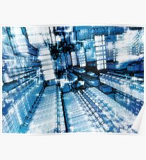 Streets of the future city - fractal pattern Poster