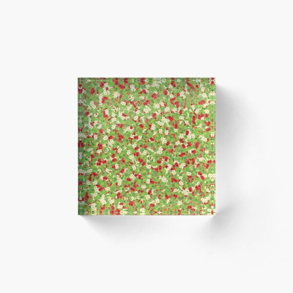 Floral And Leaves Pattern Acrylic Block