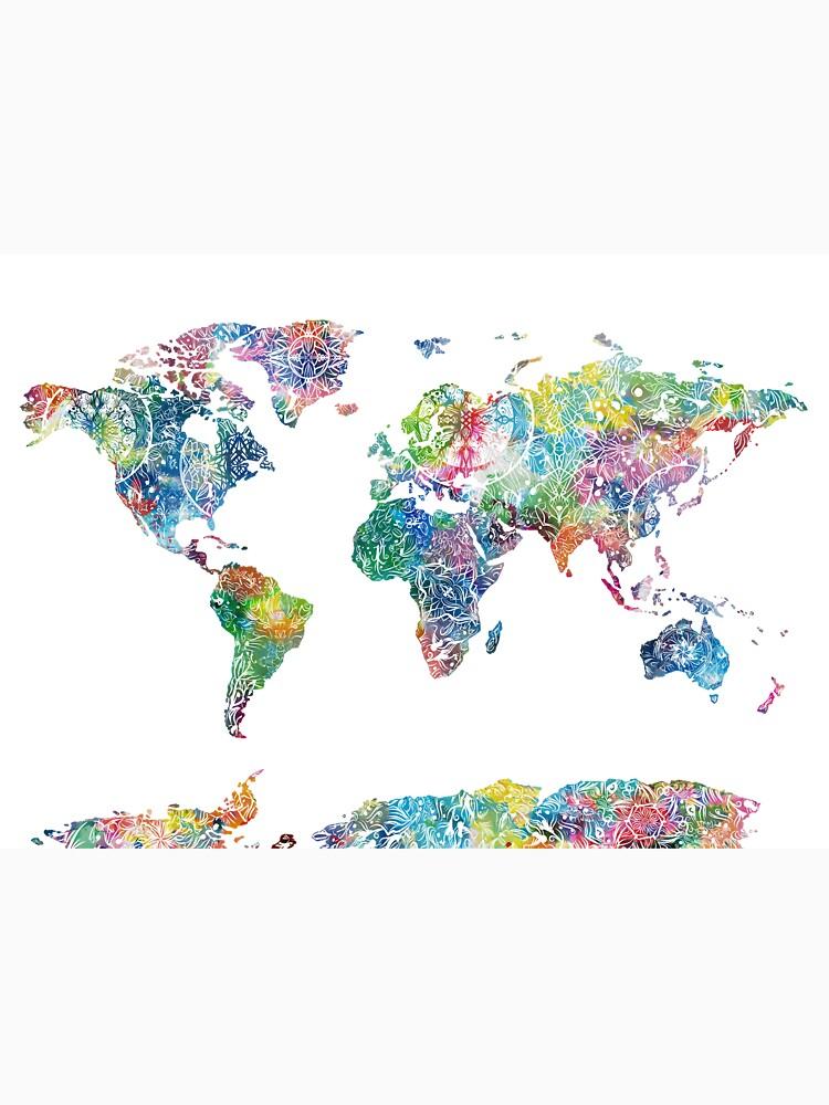 Weltkarte Mandala 6 von BekimART