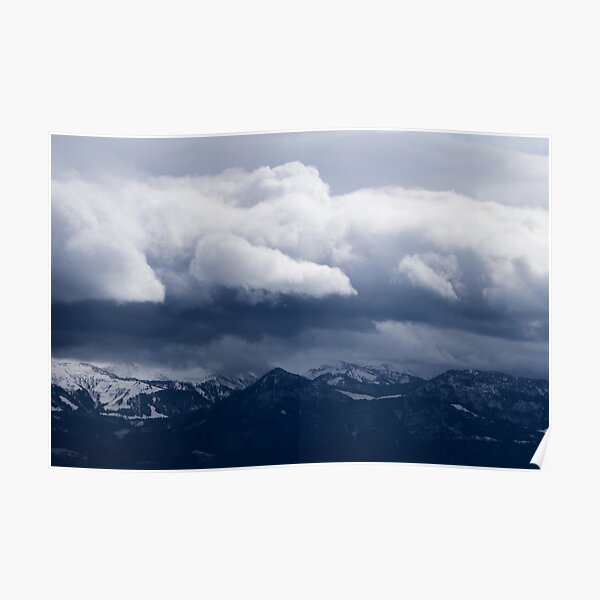 Mountain landscape and clouds Poster