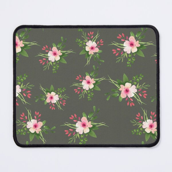 Pink Flower on Dark Background Mouse Pad