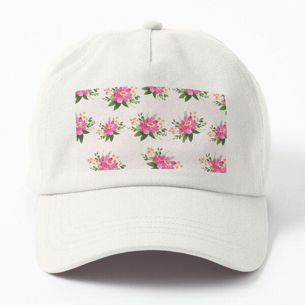 Pink Flower on Light Background Dad Hat