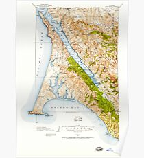 USGS TOPO Map California CA Point Reyes 298599 1916 62500 geo Poster