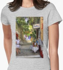 Symi Alleyway Steps Women's Fitted T-Shirt