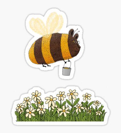 Bumble Bear with honey flies home Sticker