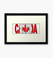 Canada Font with Canadian Flag Framed Print