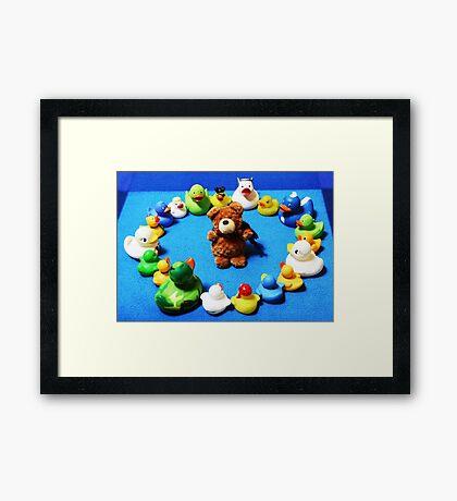Benny Bear in Duck Blessing Circle Framed Print