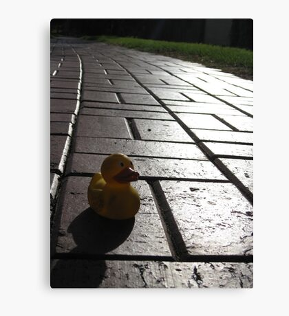 Yellow Rubber Duck On A Red Brick Road Canvas Print