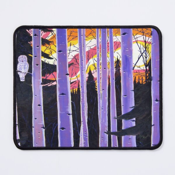 White Owl, Purple Birch Trees, Alaska Aspen Trees Forest, Sunset, Scott Clendaniel Mouse Pad