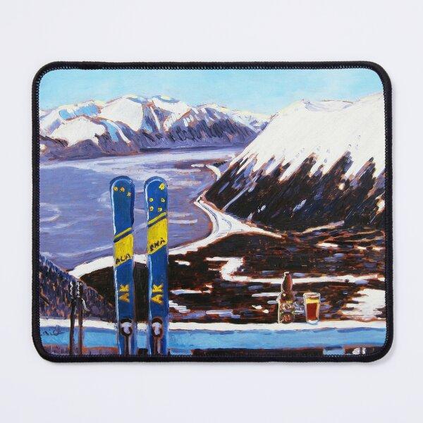 Alaska Skiing Shirt, Downhill Skis, Gift for Skier, Girdwood, Mt. Alyeska, Gift for Alaskan, Skiing Art, Skis Art Mouse Pad