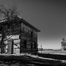 Old House and Grain Elevator on the Prairie by Steve Boyko