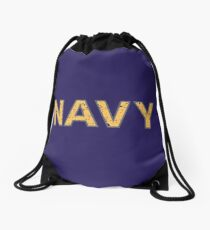 Distressed NAVY  Drawstring Bag