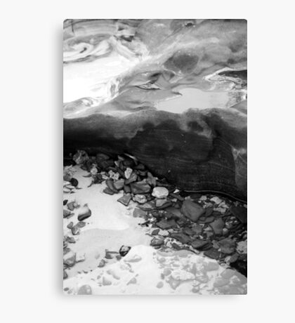 Rainbow Beach Rockpool (b&w) Canvas Print