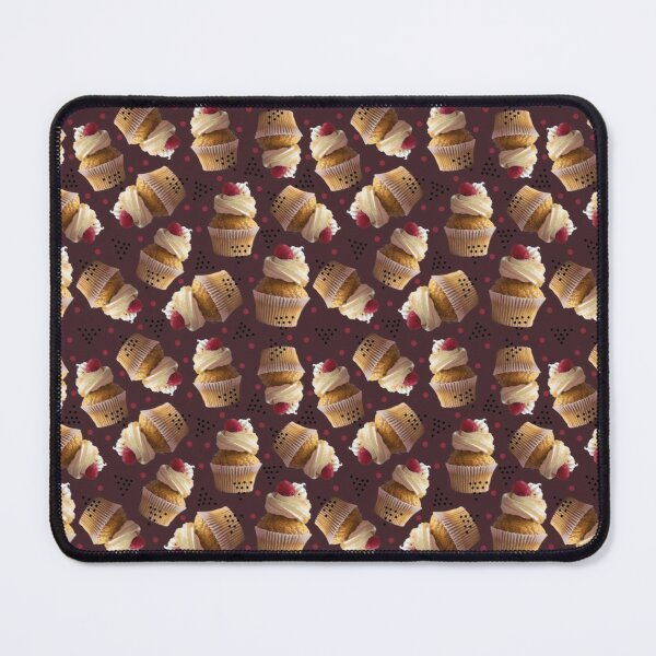 Raspberry cupcake dark pattern ~ Baking Addiction Collection Mouse Pad