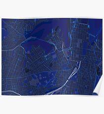 Sydney Inner West Map in Blue Poster