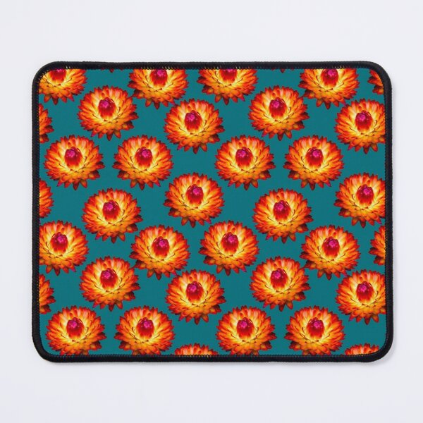 Orange Strawflower floral pattern on mint background and flower stickers Mouse Pad
