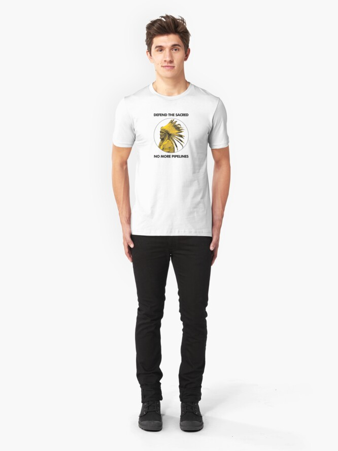 Alternate view of Defend The Sacred - No More Pipelines #NODAPL Slim Fit T-Shirt