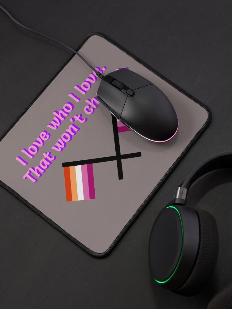Alternate view of I Love Who I Love - Lesbian Flag Design Mouse Pad