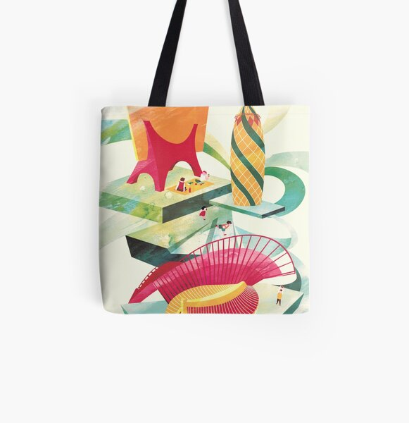 Green All Over Print Tote Bag