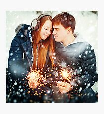 Couple with Holiday Sparklers Celebrating Christmas Photographic Print