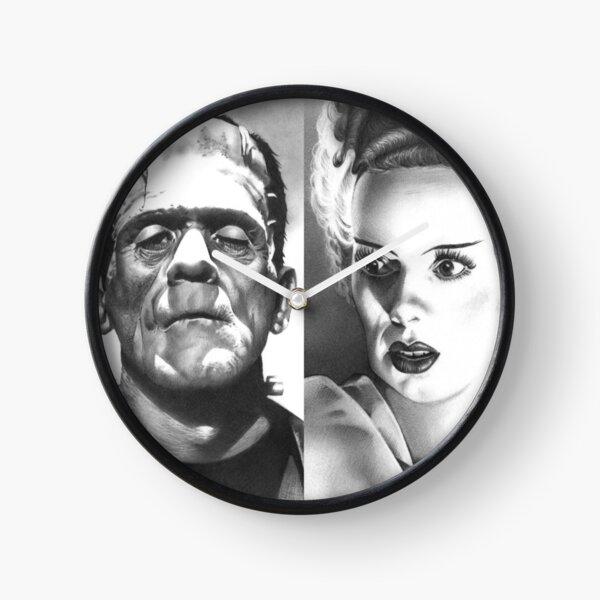 """We Belong Dead"", Frankenstein's Monster and The Bride fan art inspired by Boris Karloff & Elsa Lanchester, based on my original hand-drawn graphite illustrations Clock"