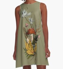 Autumnal Mushroom Woodland Scene A-Line Dress