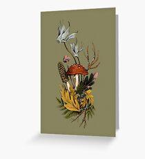 Autumnal Mushroom Woodland Scene Greeting Card