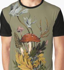 Autumnal Mushroom Woodland Scene Graphic T-Shirt
